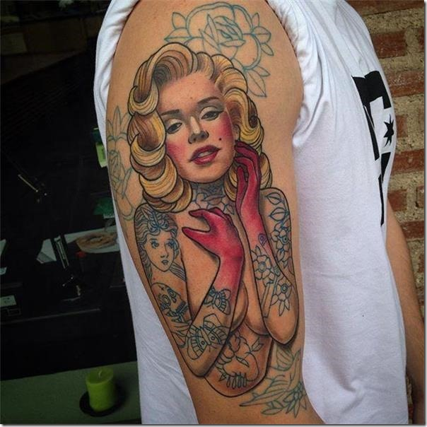 A Pin-ups Tattoos filled with perspective and elegance on the arm