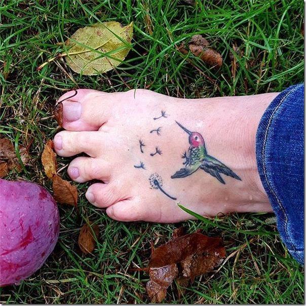 Delicate and artistic hummingbird tattoos