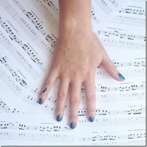 Tattoos of musical notes