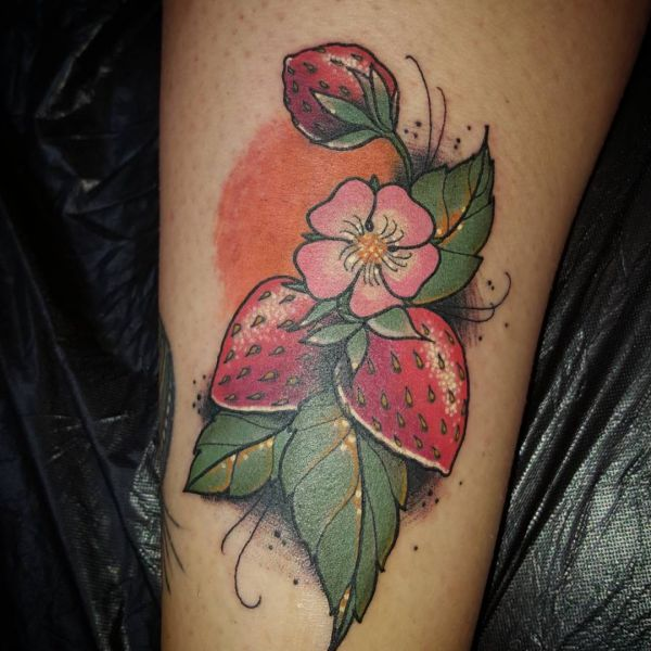 15 lovely strawberry tattoos and their meanings