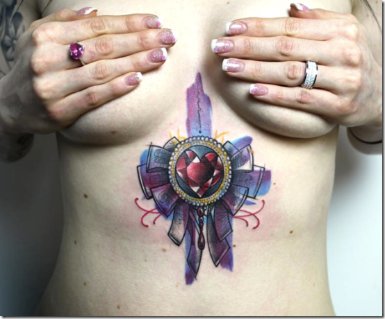 Enticing Beneath The Chest Tattoos For Ladies