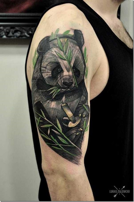 Lovable Plush Panda Tattoo Designs