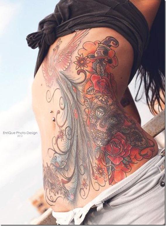 Feminine Tummy Tattoos For Ladies