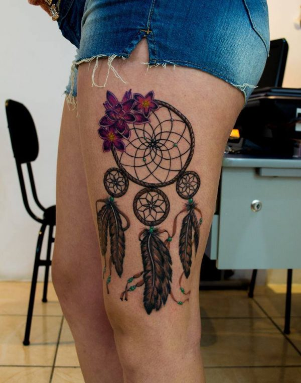 98 Lovely and female dreamcatcher tattoos
